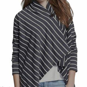 Bobeau Draped Striped Cardigan Size S